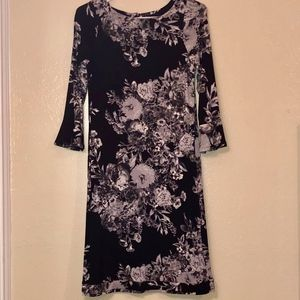 MONSOON | Black Grey Floral Bodycon Midi Dress